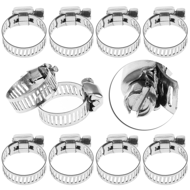 10pcs Stainless Steel Adjustable Drive Hose Clamp Fuel Line Worm Clip Professional lot 10 fit 105 127mm od hose 201 stainless steel hose hoop ring hose clamp ring for fuel line wrom cliper