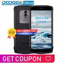 IP68 DOOGEE S55 لايت للماء الهاتف الذكي 2GB RAM 16GB ROM 5500mAh MTK6739 المزدوج سيم المزدوج VoLTE 13.0MP كاميرا 5.5 بوصة الروبوت 8.1