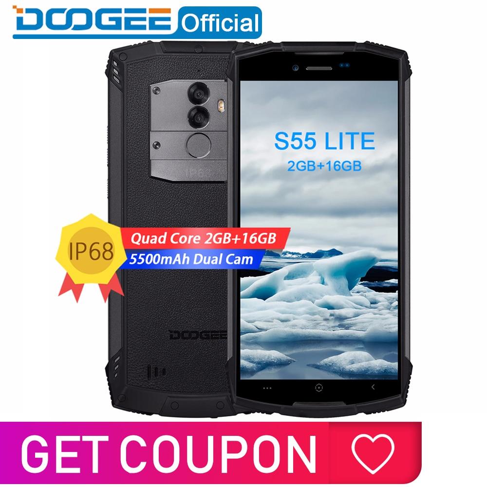 IP68 DOOGEE S55 Lite Waterproof Smartphone 2GB RAM 16GB ROM 5500mAh MTK6739 Dual SIM Dual VoLTE 13.0MP Cam 5.5inch Android 8.1