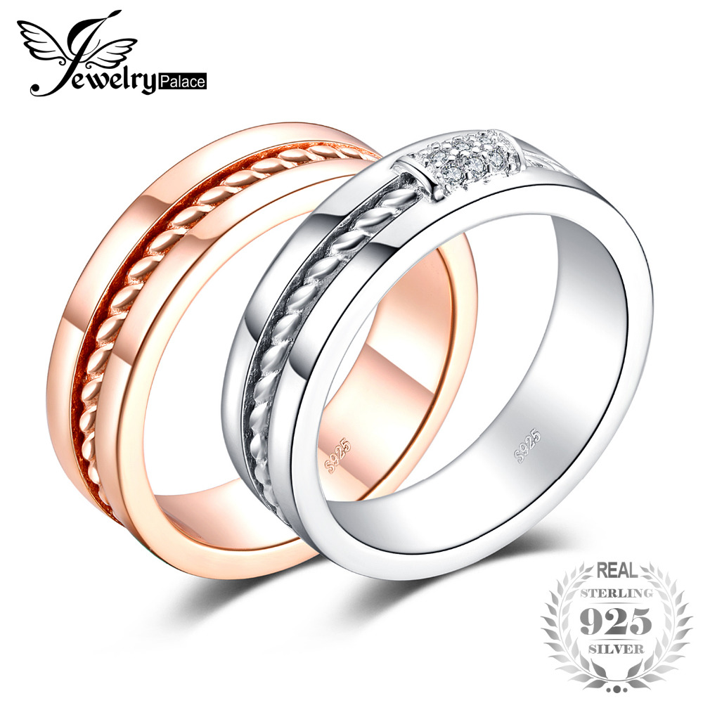 JewelryPalace AAA Classic Two-Tone Ring Band Wedding Ring 925 Sterling Silver Yellow Gold Plated Vintage Jewelry 2018 New HotJewelryPalace AAA Classic Two-Tone Ring Band Wedding Ring 925 Sterling Silver Yellow Gold Plated Vintage Jewelry 2018 New Hot