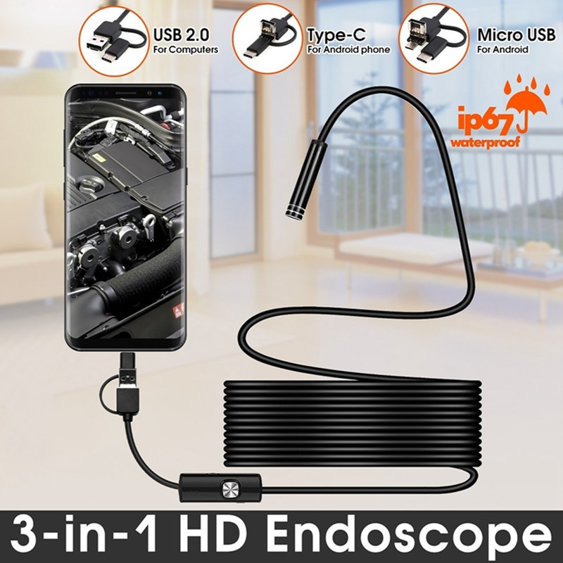 Image 5 - VicTsing 5m 7mm Endoscope Camera Wifi 3 in 1 Android Type C USB Borescope 6 LED Snake Camera For Mac OS Windows Car Repair Tools