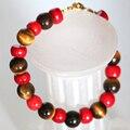 10 мм естественных коралловых красный желтый тигр камень яшмы прядь браслет и браслет оригинальный дизайн бесплатная доставка ювелирных изделий 7.5 inch B2931