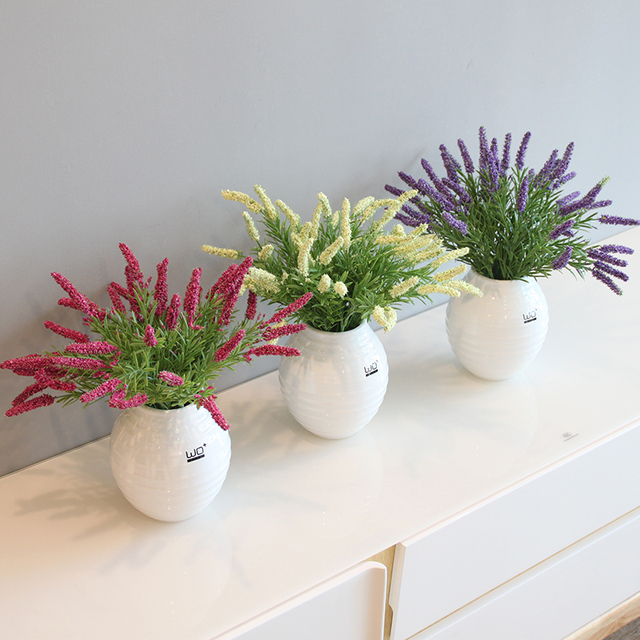 Simulation Lavendel Blumen Topf Set Keramik Vase Kunstliche Grun