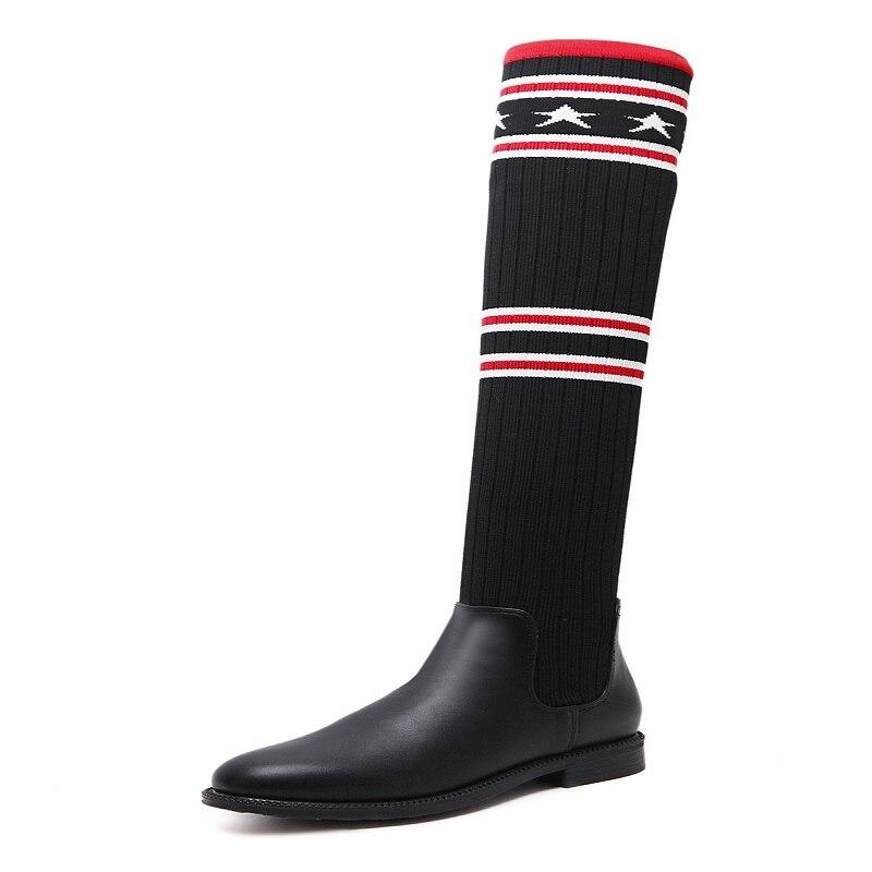 New tide wool knee boots were thin socks stretch flat knit long boots children