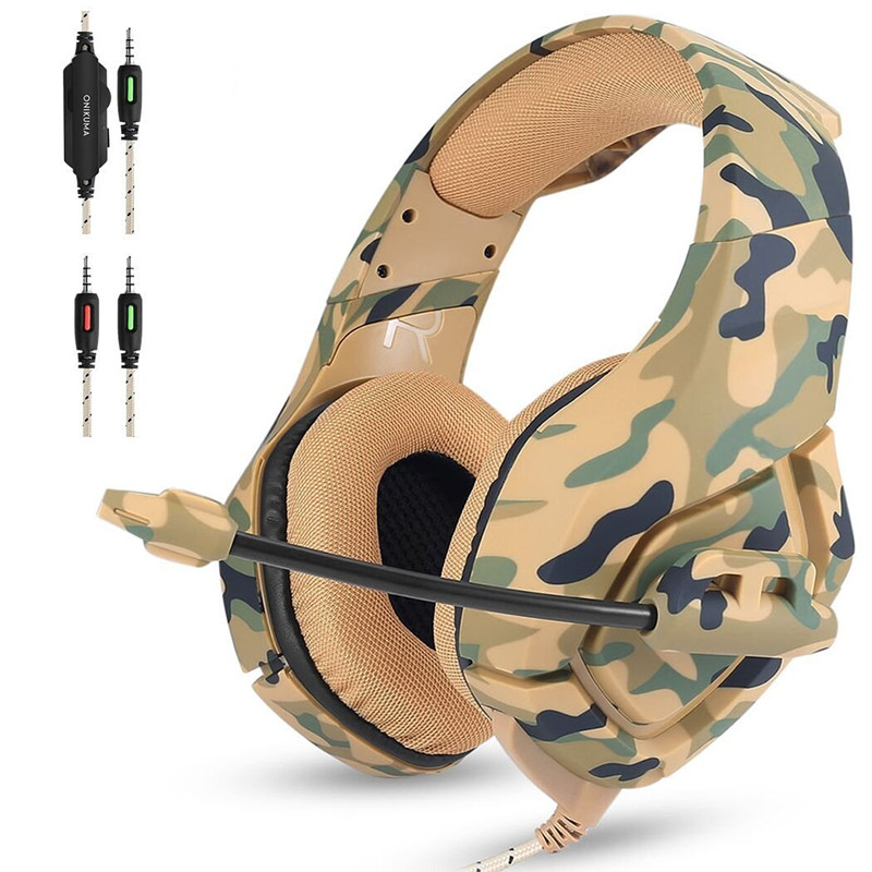 ONIKUMA K1 Camouflage PS4 Gaming Headset Gamer Gaming Headphones Earphone Casque with Mic for Computer PC Phones New Xbox One sades r5 ps4 headset gamer casque pc gaming headphones stereo earphone with mic for computer xbox one mobile phone laptop mac
