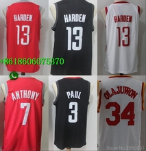 f642693af Free shipping quality Houston HOU Mens Adult #13 James Harden 3 Chris Paul  34 Hakeem Olajuwon 7 Carmelo Anthony Jersey