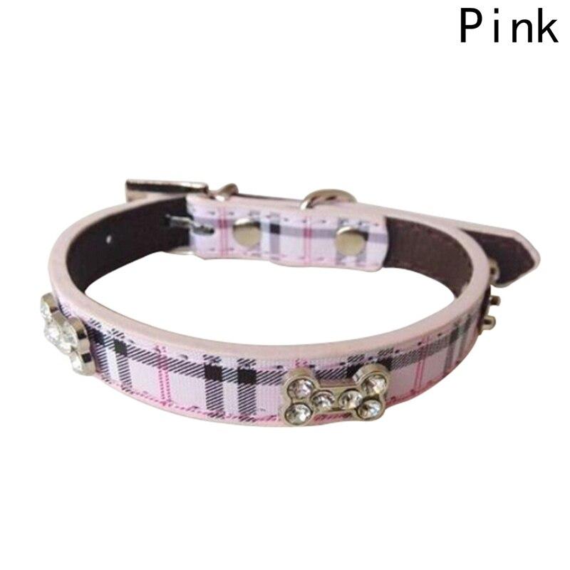 Fashion Plaid Dog Collar Durable PU Leather Adjustable Bling Rhinestone Pet Puppy Collar S/M/L