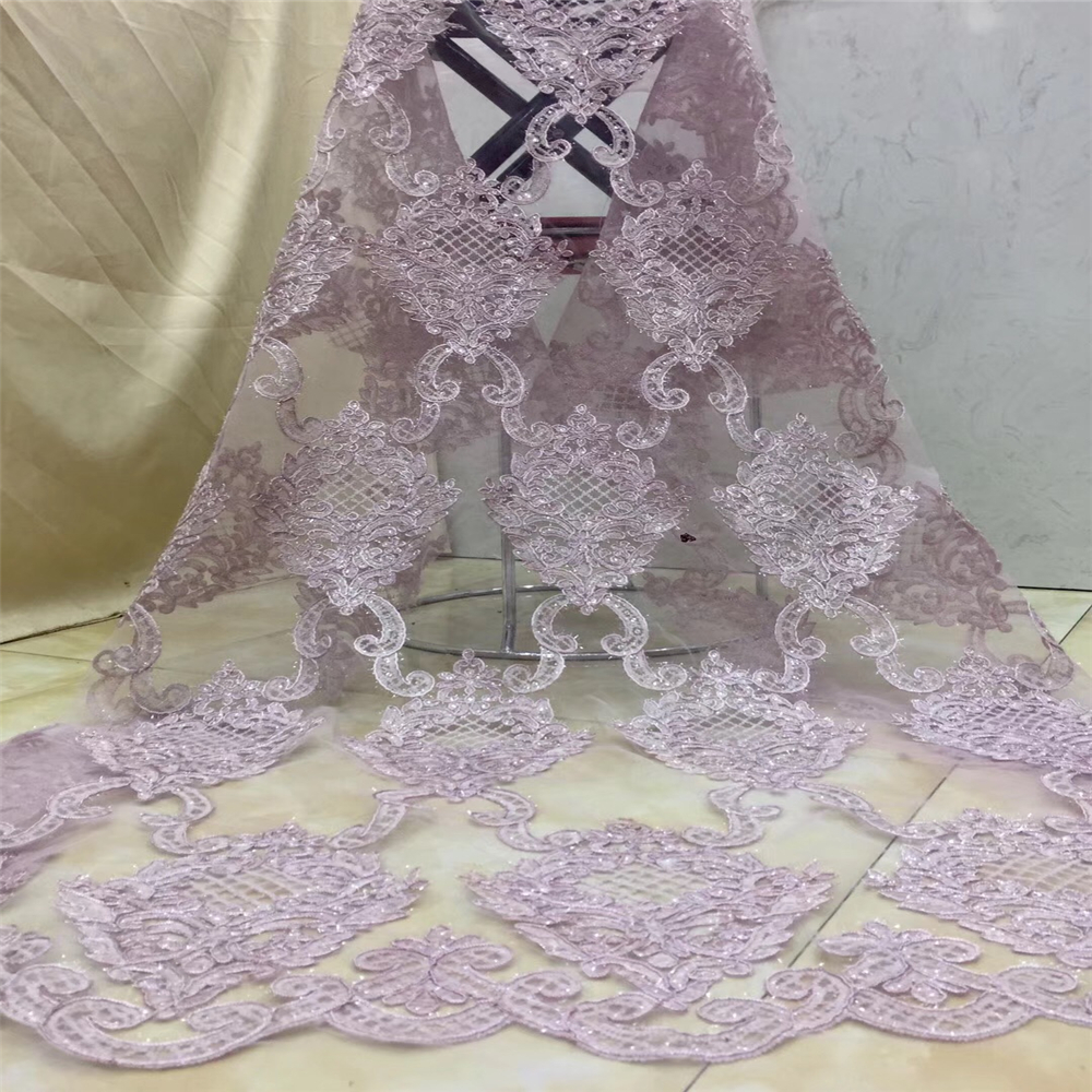Tollola High Quality Nigerian Lace Fabrics Latest Sequins Mesh African Lace Fabric Bride Guipure French Net
