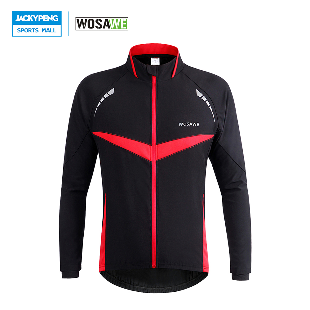 WOSAWE Winter Autumn Windproof Cycling Jacket Reflective Bicycle Wind Coat Long Sleeve MTB Mountain Road Bike Jersey Clothing dichski outdoor bike coat quick dry mtb riding pants mountain 2017 long sleeve cycling sets suit male autumn winter jersey h233