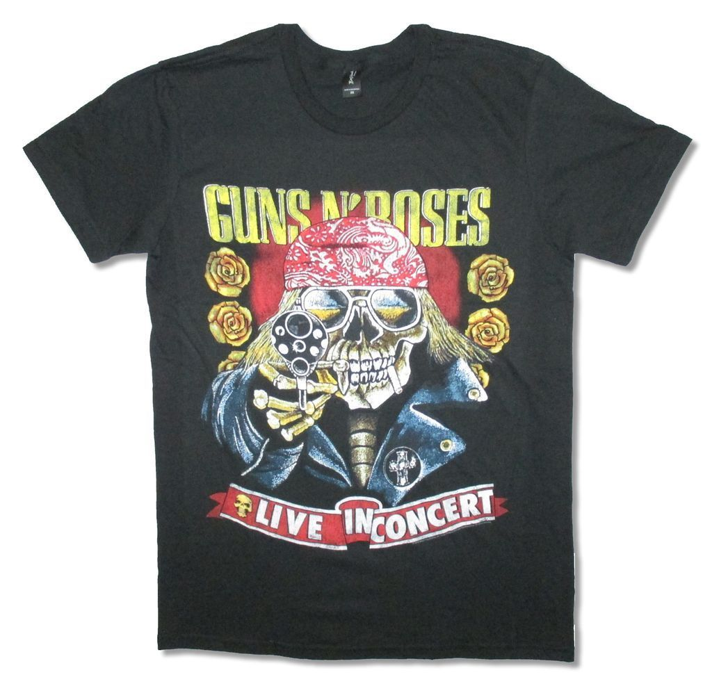 Guns N Roses Live In Concert 1991 Reissue Black T Shirt New Official