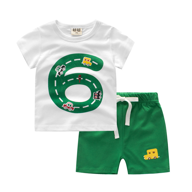 2018 New Fashion Hot Sale Brand Boys Clothing Children Summer Boys Clothes Cartoon Kids Boy Clothing Set T-shit+Pants Cotton