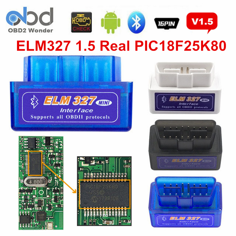 OBD II ELM327 PIC18F25K80 Bluetooth V1.5 Auto Scanner ELM 327 25K80 2 Layer PCB OBDII Diagnostic Scanner Hardware 1.5 Android PC