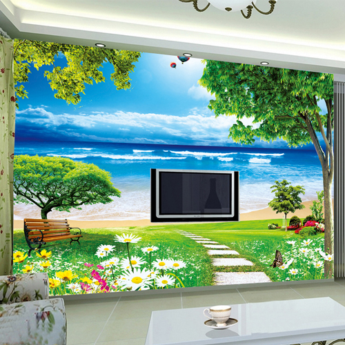 Free Shipping Large Living Room TV Wall Mural Wallpaper Backdrop Natural  Clear Beach Custom Size