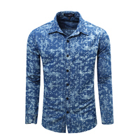 COCKCON Hot Sale Men Shirt High Quality Long Sleeved Fashion Plaid Floral Printed Brand Clothing Casual