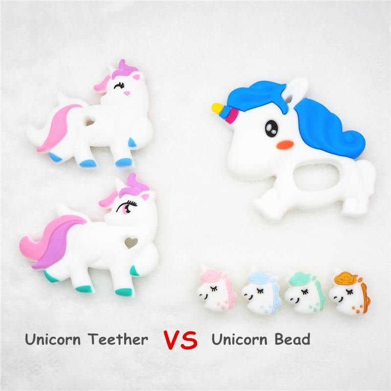 Chenkai 10PCS Silicone Unicorn Teether Beads DIY Baby Animal Chewing Pacifier Dummy Teething Montessori Sensory Toy