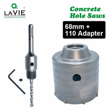 LAVIE 1 set SDS 플러스 68mm 콘크리트 구멍 톱 전기 중공 코어 드릴 비트 생크 110mm 시멘트 스톤 벽 에어컨 합금