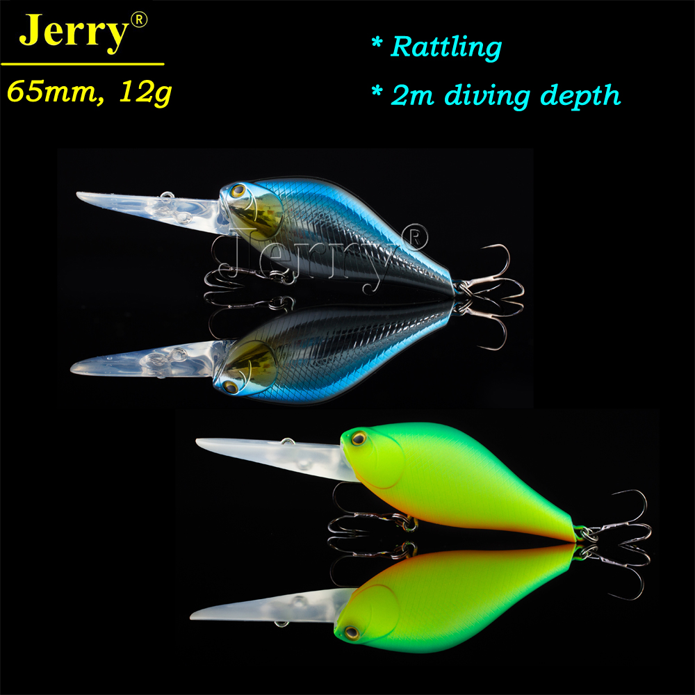 Jerry 6.5cm 12g floating crankbait rattling deep diving hard body plastic lures for bass fishing crank bait jerry 1pc 8cm 15g crystal popper lure for bass best hard lures surface bait deep sea