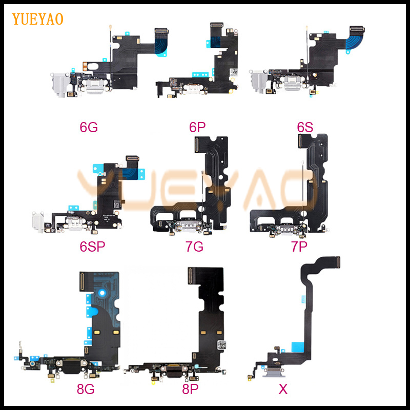 Charging Flex Cable For iPhone 6 6S 7 8 X  USB Charger Port Dock Connector With Mic Flex Cable, 6 6S 7 8 Plus Charging Flex(China)
