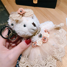 Cartoon Dress Bow Rhinestone Teddy Bear Keychain Plush Wedding Bear Doll Wedding Bouquet Toy Bag Pendant Jewelry Llaveros Toys цены