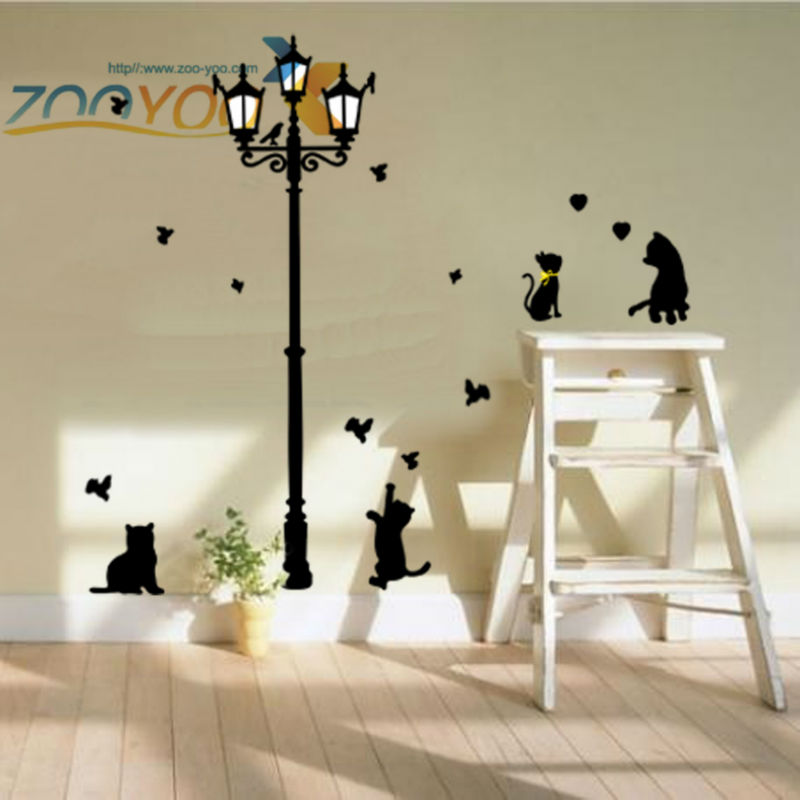buy lovely cats playing with butterfly around lamppost wall decal zooyoo030l removable pvc wall sticker home decorations mural art from