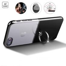 Xundd Марка чехол для iPhone 7 Plus Роскошные кольцо держатель чехол для iPhone 7 прозрачная задняя крышка ПК с 360 вращающийся держатель молния
