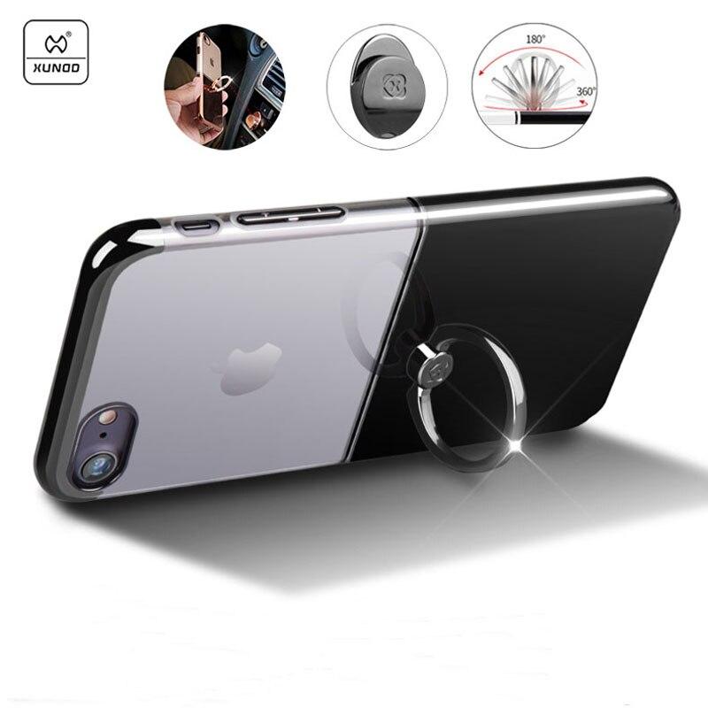 Цена за Xundd Марка чехол для iPhone 7 Plus Роскошные кольцо держатель чехол для iPhone 7 прозрачная задняя крышка ПК с 360 вращающийся держатель молния