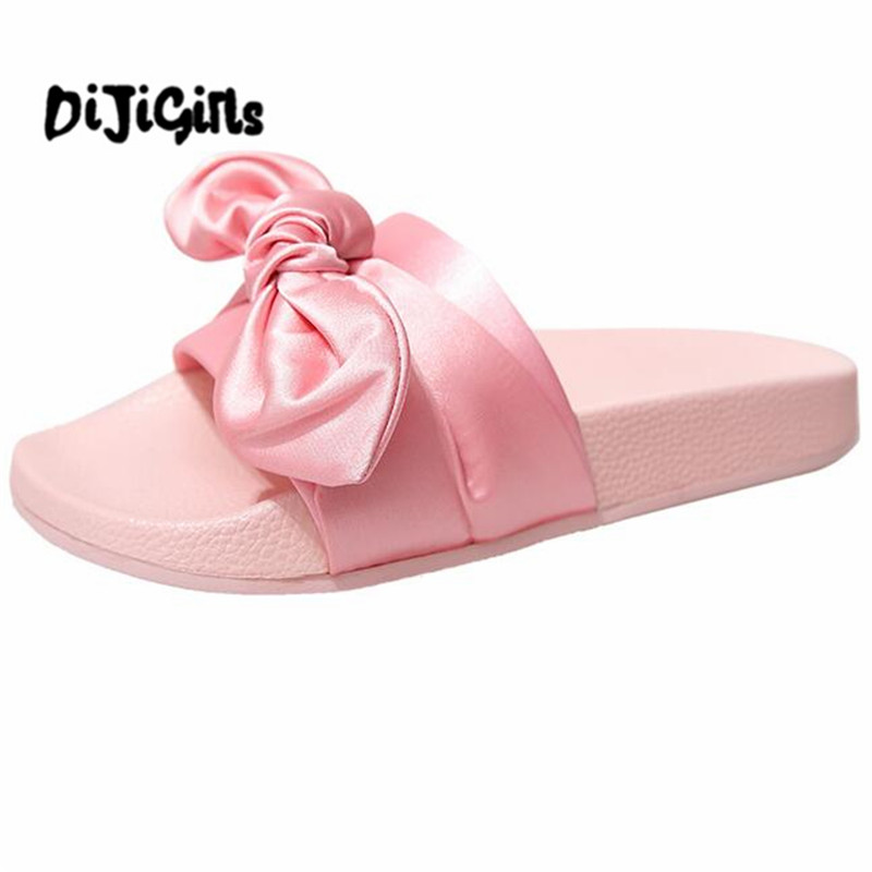 Lotus Jolly Silk Bow Slides Women Summer Beach Shoes Woman No Fur Slippers Flat Heels Flip Flops Ladies Rihanna Bohemia Sandals купить