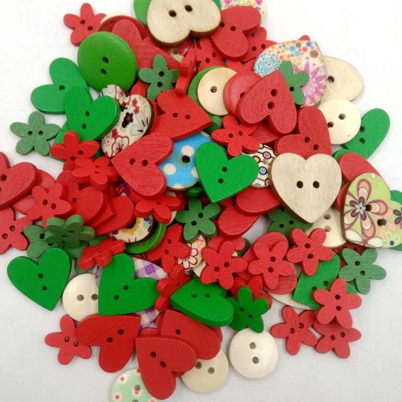 100 pcs/lot Mischfarbe Holz Knöpfe 2-Loch Herz Blume Muster DIY Dekorative Knöpfe Fit Nähen Scrapbooking handwerk Tasten