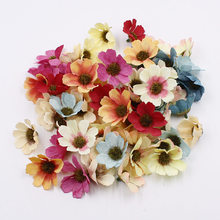 10pcs4.5 cm Mini Daisy Flower Silk Artificial Simulation Fabric Wedding Decoration DIY Wreath Gift Scrapbook Access