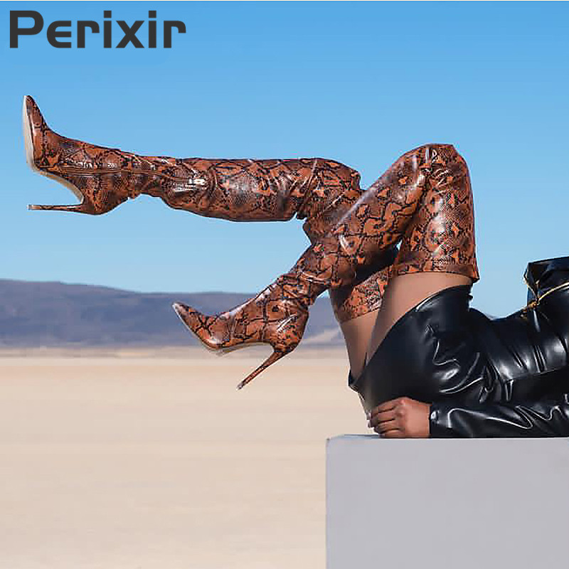 Perixir Thigh High Boots for Ladies Shoes Snakeskin Pointed Toe Super Thin High Heels Long Over