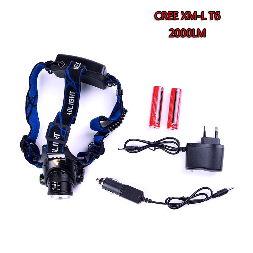 Led Headlight XM-L T6 LED 2000LM Headlamp Light Zoomable Lantern Camping Hunting Flashlight Torch With Battery And Charger