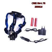 Led faro XM-L T6 LED 2000LM faro luz Zoomable linterna Camping caza linterna antorcha con la batería y el cargador