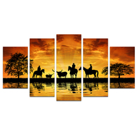 5 Piece Giclee Canvas Prints Cowboy on Horseback Country Scenery Big Black Tree Silhoutte Pictures Prints for Living Room