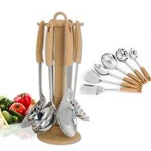 7 Pcs/Set Multifunction Stainless Steel Kitchen Utensil Spatula Set Handle Cooking Tools Turner Ladle For Restaurant