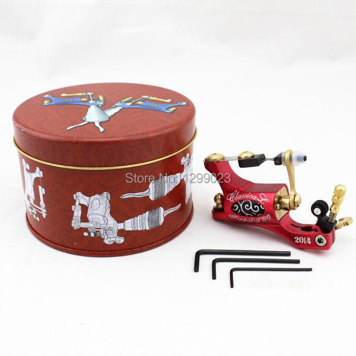 pro rotary tattoo machine gun motor metal frame liner shader with box Red for complete tattoo kit needle supply free shipping 4 pcs liner shader tattoo rotary motor gun machine kit set swashdrive