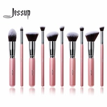 Jessup 10Pcs Professional Make up Brushes Set Foundation Blusher Kabuki Powder Eyeshadow Blending Eyebrow Brushes Pink/Silver