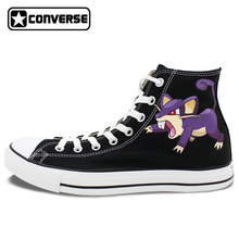 Original Converse Chuck Taylor Pokemon Rattata Design Hand Painted Shoes Boys Girls Sneakers Skateboarding Shoes Anime Cosplay