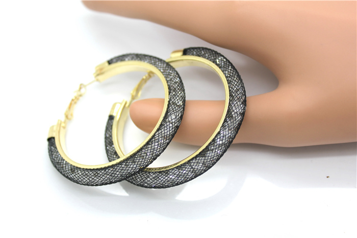 HTB1YWmbHXXXXXahXXXXq6xXFXXX3 - 40mm Big Gold Hoop Earrings Red Crystal Mesh Women Earing Gold Color Round Hoops Jewelry