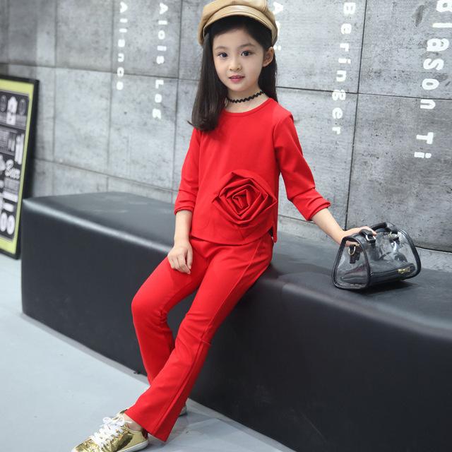 New Chegou Meninas Se Adapte 2017 Coreano Moda Primavera Outono Crianças de Algodão Casuais Camisa Floral + Calça Duas Peças Para 6-15Y bebê Quente