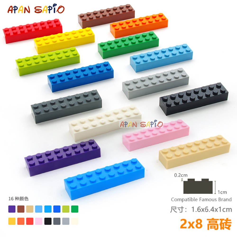 5pcs/lot DIY Blocks Building Bricks Thick 2X8 Educational Assemblage Construction Toys For Children Size Compatible With Lego