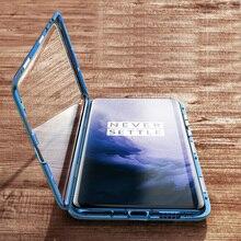 Manderm etui na telefon do OnePlus 7 Pro OnePlus7 360 stopni pełna ochrona ciała magnetyczne z przodu z tyłu obudowa ze szkła hartowanego