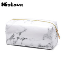 New PU White Marble Pattern Waterproof Makeup Bag Large Capacity Zipper Wash bags Women Female Travel Essential Cosmetic