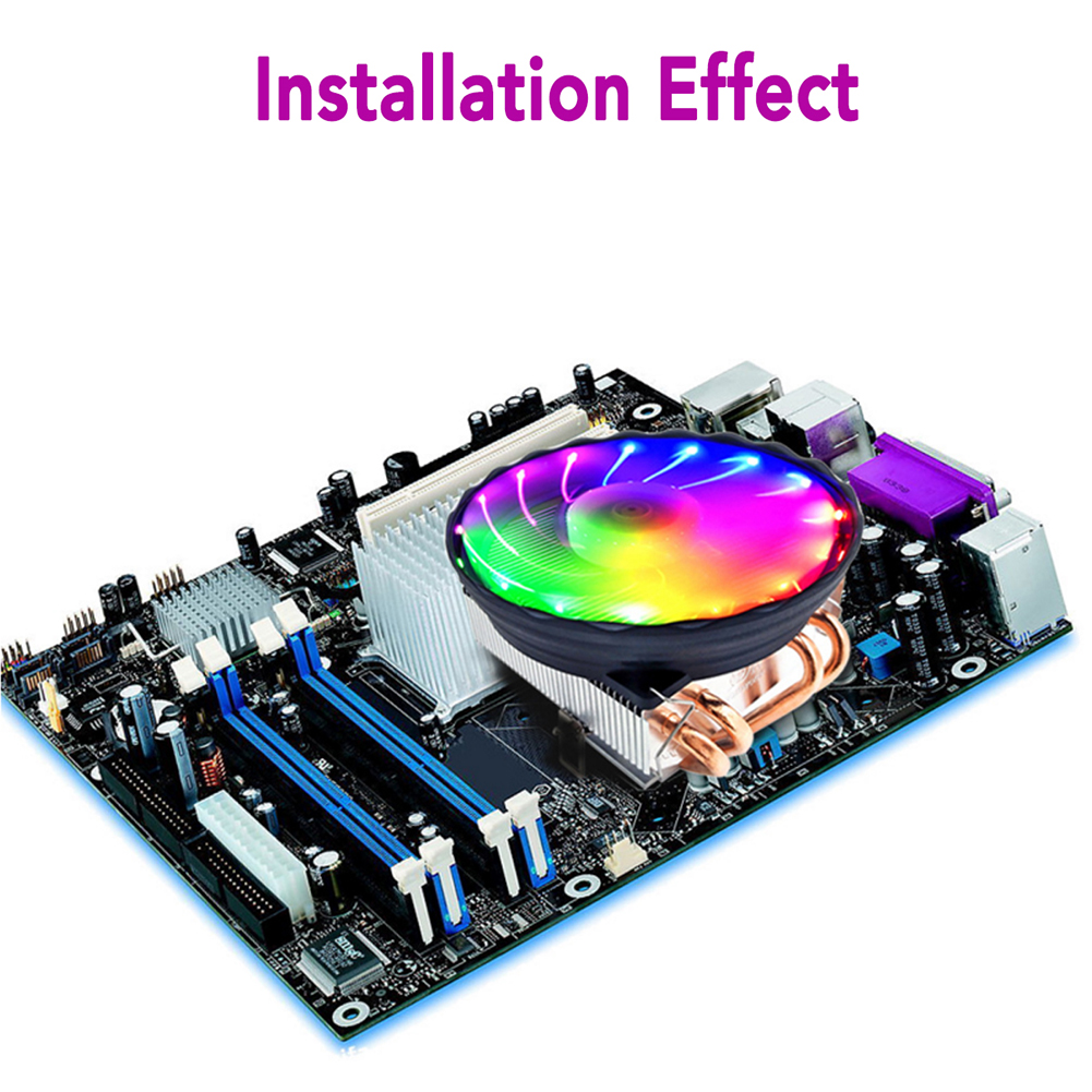 Image 2 - 4 Heatpipes 120mm CPU Cooler LED RGB Fan for Intel LGA 1155/1151/1150/1366 AMD Good quality Horizontal CPU Cooler-in Fans & Cooling from Computer & Office