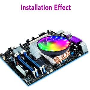 Image 2 - 4 Heatpipes 120mm CPU Koeler LED RGB Fan voor Intel LGA 1155/1151/1150/1366 AMD goede kwaliteit Horizontale CPU Koeler