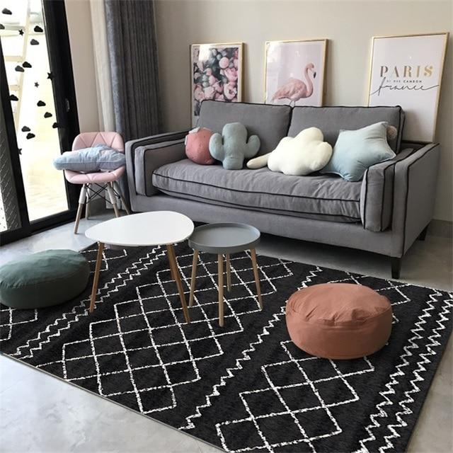 Fashion Casual Scandinavian Geometric Black White Grey Door Mat