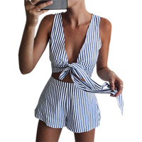 Sleeveless Two Pieces Sets 2017 Summer Women Sexy V Neck Crop Top Shorts Striped Beach Set