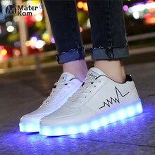 גודל 30 42 זוהר סניקרס לילדים Led נעלי תינוקות USB תשלום זוהר בנות סניקרס ילדים אור עד נעליים led כפכפים