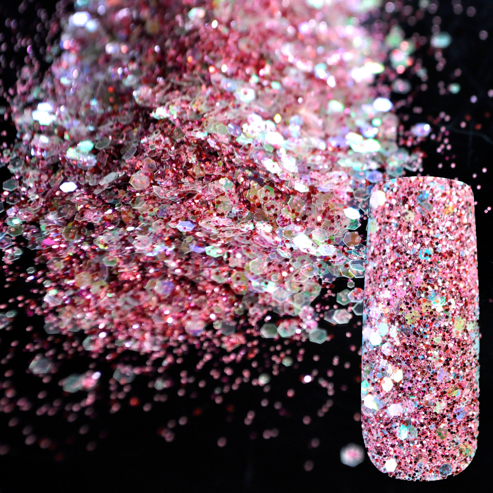 Aliexpress Mix Size Shinning Raibow Pink Red Nail Glitter Powder Diy Art Sequins Decorations Hexagonal Sheet Material 278 From