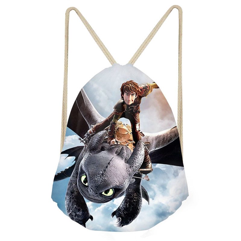 ThiKin How to Train Your Dragon Printing Drawstring Bag Children Backpack Small School Bags for Kids