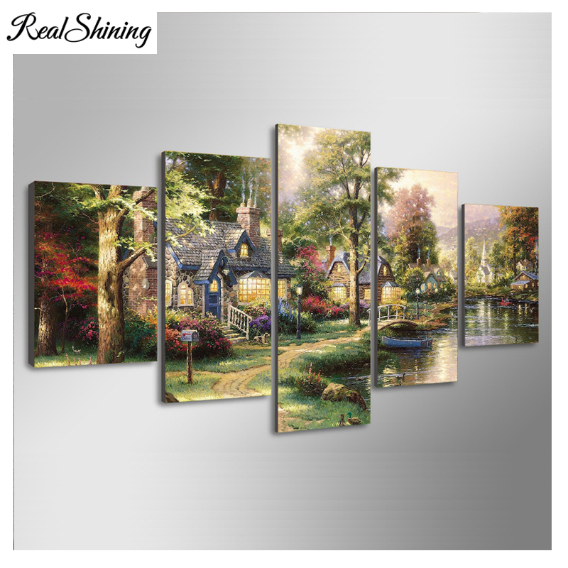 REALSHINING 5Planes Full Square 5D DIY Diamond Painting Fairy tale village 3d Diamond Embroidery Mosaic Cross